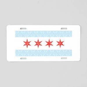 Damask Chicago Flag Aluminum License Plate