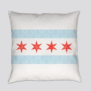 Damask Chicago Flag Everyday Pillow
