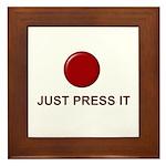 Big Red Button Framed Tile