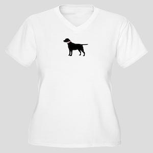 Preppy Black Lab Women's Plus Size V-Neck T-Shirt