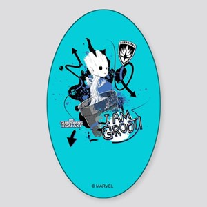 GOTG Baby I am Groot Grunge Sticker (Oval)