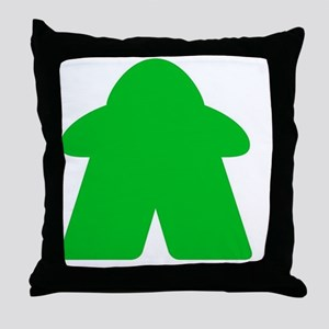 Green Meeple Throw Pillow