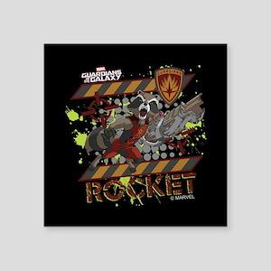 "GOTG Rocket Cartoon Danger Square Sticker 3"" x 3"""