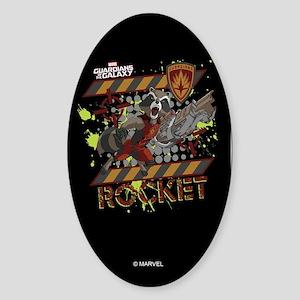 GOTG Rocket Cartoon Danger Sticker (Oval)
