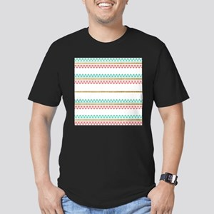Mint Coral Gold Glitter Tiny Triangle Stripes T-Sh