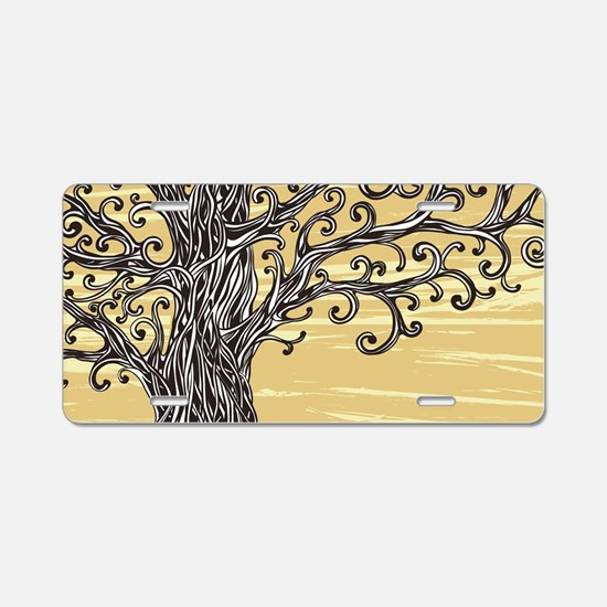 Tree Art Aluminum License Plate