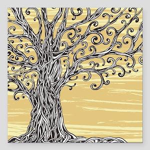 "Tree Art Square Car Magnet 3"" x 3"""