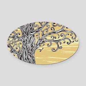 Tree Art Oval Car Magnet
