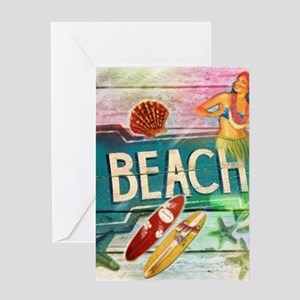 sunrise beach surfer Greeting Cards