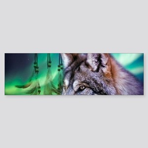 dream catcher northern light wolf Bumper Sticker
