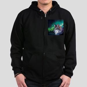 dream catcher northern light wol Zip Hoodie (dark)