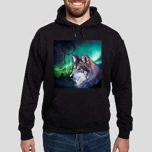 dream catcher northern light wolf Hoodie (dark)