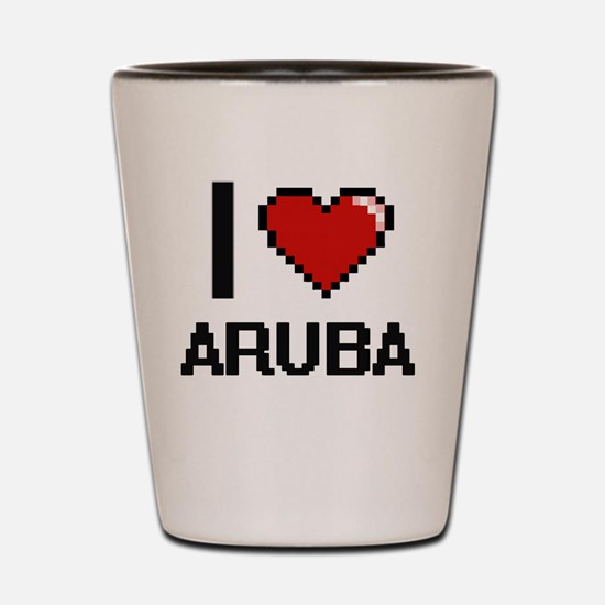 I Love Aruba Digital Design Shot Glass