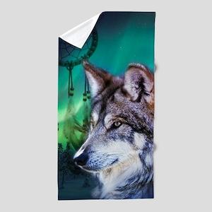 dream catcher northern light wolf Beach Towel