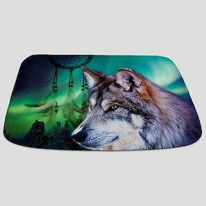 dream catcher northern light wolf Bathmat