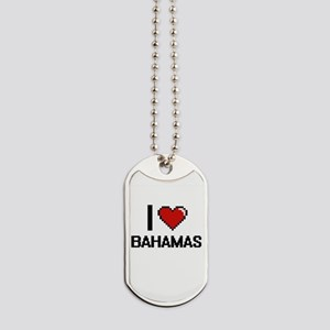 I Love Bahamas Digital Design Dog Tags