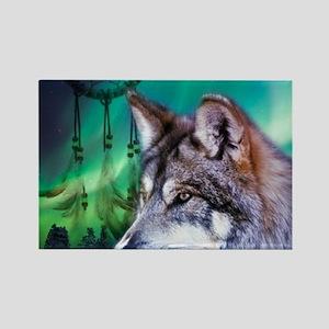 dream catcher northern light wolf Magnets