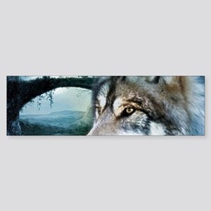 romantic moonlight wild wolf Bumper Sticker