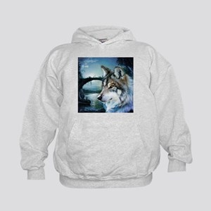 romantic moonlight wild wolf Kids Hoodie