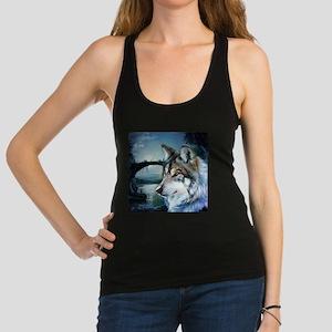 romantic moonlight wild wolf Racerback Tank Top