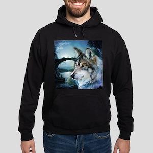 romantic moonlight wild wolf Hoodie (dark)
