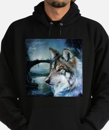 romantic moonlight wild wolf Hoodie (dark)
