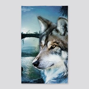 romantic moonlight wild wolf Area Rug