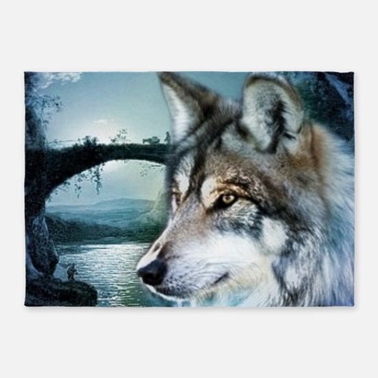 romantic moonlight wild wolf 5'x7'Area Rug