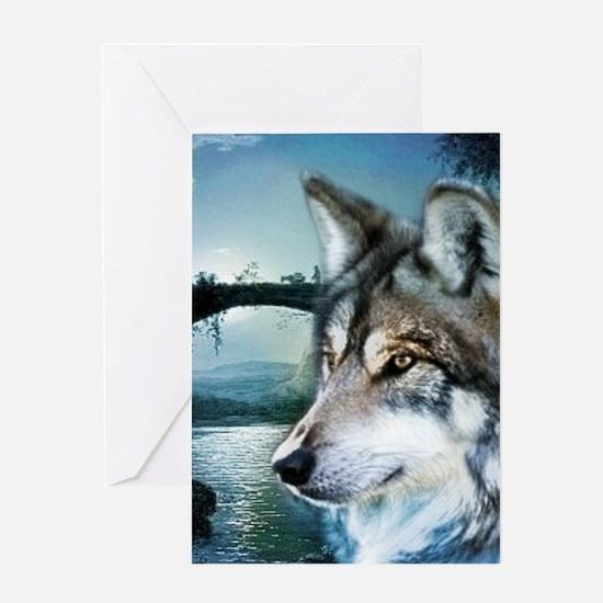 romantic moonlight wild wolf Greeting Cards