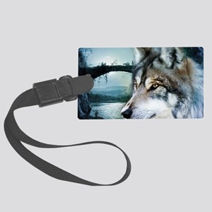 romantic moonlight wild wolf Large Luggage Tag