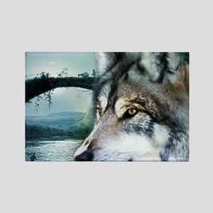 romantic moonlight wild wolf Magnets