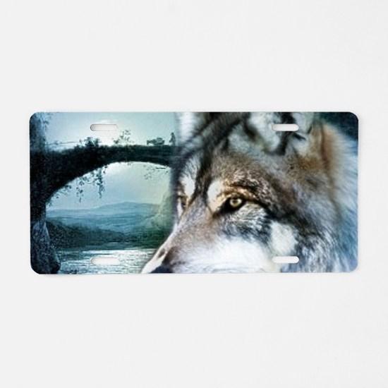 romantic moonlight wild wol Aluminum License Plate