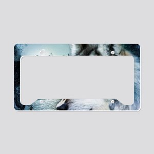 romantic moonlight wild wolf License Plate Holder