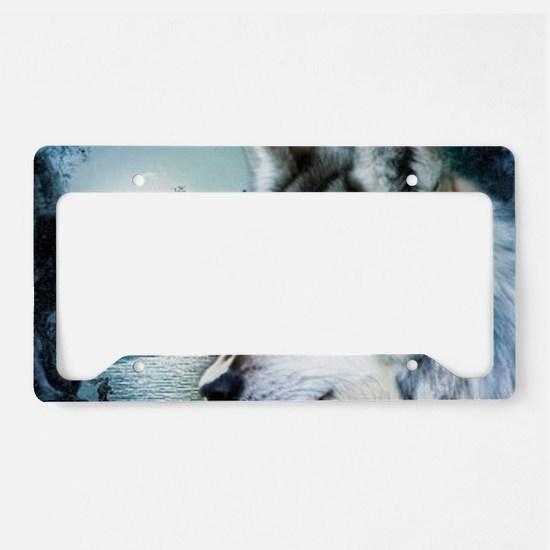 romantic moonlight wild wolf License Plate Holder