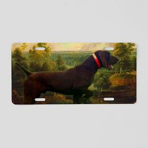 vintage hunting pointer dog Aluminum License Plate
