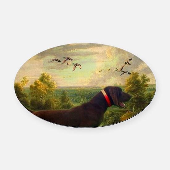 vintage hunting pointer dog Oval Car Magnet