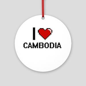 I Love Cambodia Digital Design Round Ornament