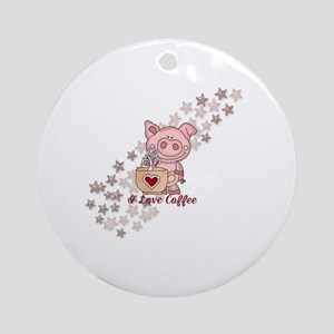 Piglet Loves Coffee Round Ornament