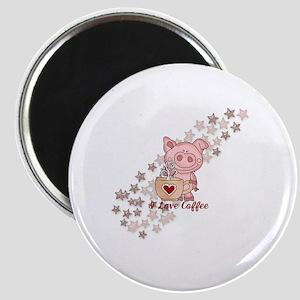 Piglet Loves Coffee Magnet