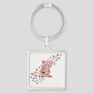 Piglet Loves Coffee Square Keychain