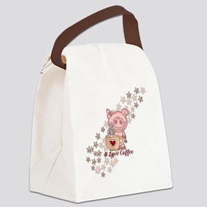 Piglet Loves Coffee Canvas Lunch Bag