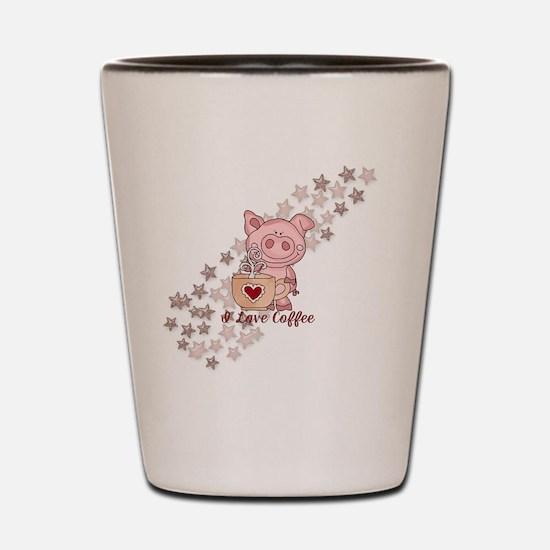 Piglet Loves Coffee Shot Glass