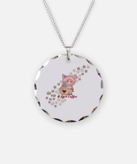 Piglet Loves Coffee Necklace