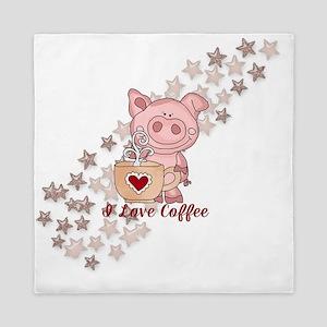 Piglet Loves Coffee Queen Duvet