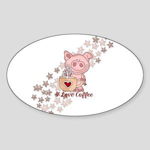 Piglet Loves Coffee Sticker
