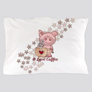 Piglet Loves Coffee Pillow Case