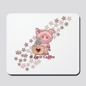 Piglet Loves Coffee Mousepad