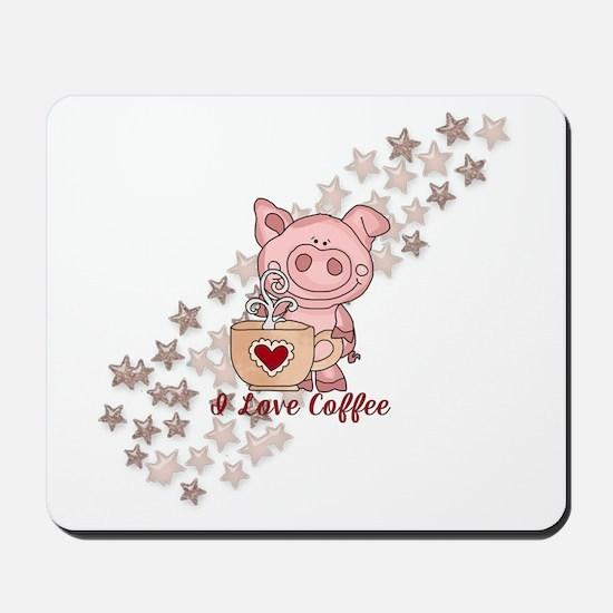 Piglet Loves Coffee Mousepad