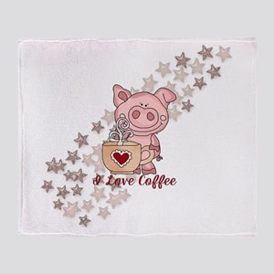 Piglet Loves Coffee Throw Blanket