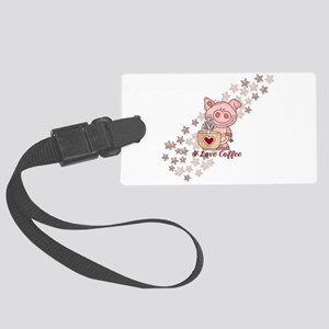 Piglet Loves Coffee Large Luggage Tag